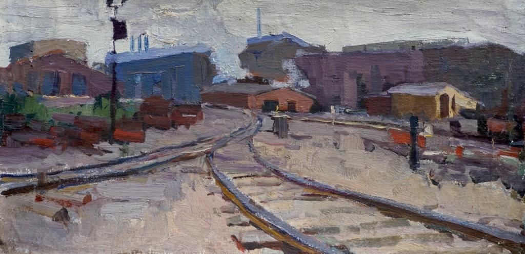 Индустриальный мотив. 1959. Холст, масло. 26х55