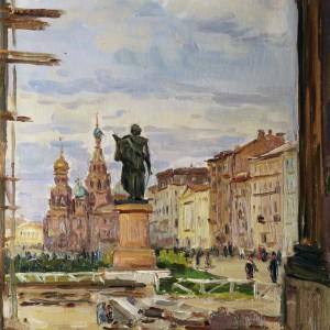 14 Воз-1743 Борисенков Городской пейзаж 1948г 36.5х26.5 к.м