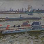 На водно-морской базе. 1966 Х., м. 43х54