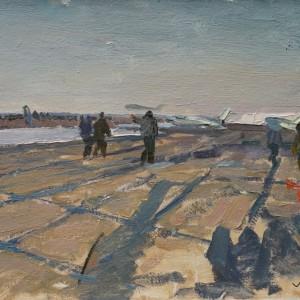 На взлетной полосе. 1963 К., м. 37х49,5